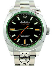 Rolex Milgauss 116400 Green Crystal Black Dial Oyster Men's Watch PAPERS *MINT*