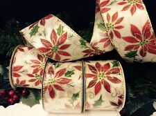 """3 RED """"CHRISTMAS POINSETTIA"""" RIBBONS TREES-WREATHS-GIFTS-DECORATION 10m x 5cm ea"""