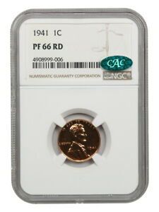 1941 1c NGC/CAC PR 66 RD - Lovely, Original Toning - Lincoln Cent