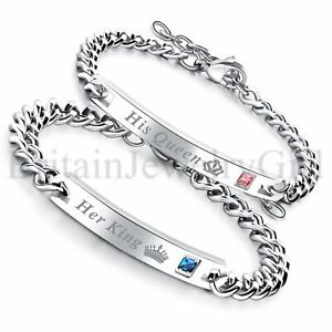 His Queen Her King Stainless Steel His and Hers Lovers Couple Bangle Bracelet