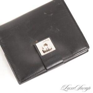 Salvatore Ferragamo Made in Italy Black Leather Gancini Lock Multipocket Wallet