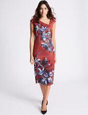 NEW Ex M&S 10-22 Red Panelled Floral Printed Bodycon Midi Dress Smart Work Shift