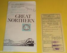 Great Northern Empire BuilderTicket Folder with ticket stub 1963  trip Nice See!