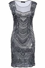 Womens Flapper Dresses 1920s XL Sequined Beaded Great Gatsby Dress Grey - USA