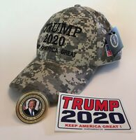 President Donald Trump Hat ...MAGA...2020 ..Keep America Great ..Camo + 2 Decals