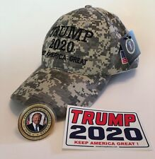 President Donald Trump Hat ...MAGA...2020 ..Keep America Great ..Camo + 2 Decals