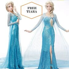 Frozen Elsa Fancy Dress Party Costume Blue adult all sizes Rhinestone WIG option