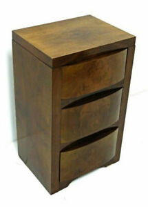 1930 Art Deco Antique Walnut Side Table Nightstand Double Bed Bedroom Set Vanity