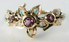 LOVELY 9K 9CT GOLD  PINK TOURMALINE OPAL ART DECO INS FLOWER RING FREE RESIZE