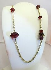 "Crystals Fashion Necklace: 345641 C 46"" Pilgrim Jewelry Beaded Cranberry"