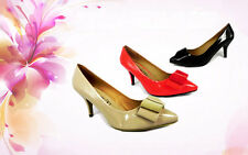 NEW WOMEN LADIES LOW MID HEEL PUMPS  PARTY/FORMAL WORK COURT SHOES SIZE 3 - 8