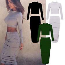 Two Piece Mini Midi Skirt Crop Top Dress Set Celeb Inspired Long Sleeve Party
