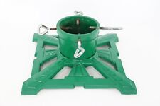 "14"" Square Vintage Heavy Cast Iron Christmas Tree Stand Green Art Deco Mcm Decor"