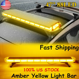 "47"" 88LED Flash Warning Strobe Light Bar Amber Yellow Emergency Beacon"