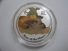 """Australia, 1 dólares 2008 St, lunar II """"año del ratón"""", plata con color"""