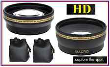Hi Def Wide Angle & Telephoto Lens 2Pc Set for Fujifilm Finepix HS25EXR HS28EXR