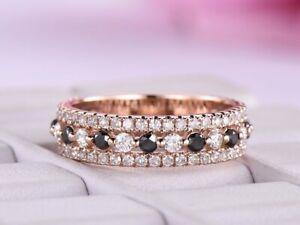 0.65Ct Round Cut Black Diamond Half Eternity Wedding Band 14K Rose Gold Finish