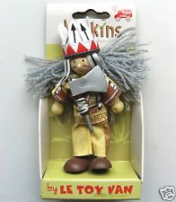 BUDKINS WOODEN PLAY FIGURES BY LE TOY VAN 10cm INDIAN CHIEF BEAR CLAW BRAND NEW