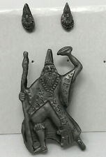 Pewter Wizard Brooch Earring Set Magical Ren Faire