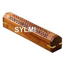 Wooden Coffin Incense Burner/Sticks/Cones/Holder/Brass Inlay/Storage Compartment