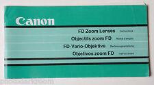 Canon FD Zoom Lens Collection Instruction Manual Book - En Fr Es De USED B37 GD