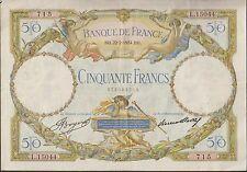 V003- BILLET 50 FRANCS  LUC OLIVIER MERSON 22 /2/1934
