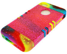 For Apple iPhone 4 4S 4GS Hybrid Cover Case Pink Glitter Colorful Rainbow Skin