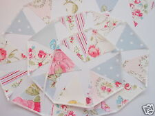 DOVE GREY, PINK & IVORY VINTAGE STYLE FLORAL FABRIC MINI BUNTING 4m, 13ft
