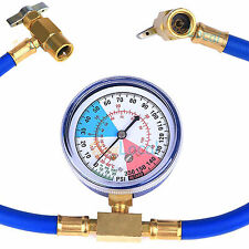 R134a Car Air Condition Recharge Tester Refrigerant Hose Can Tap Gauge AC System