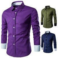 Men's Business Shirts Blouses Tops Button Front Long sleeve Leisure Slim Fit New