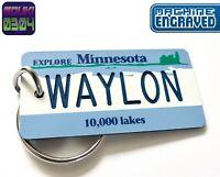 Personalized Minnesota Keychain - License Plate Tag - Custom Engraved - Vintage