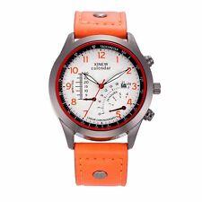 Trendy  Heren Sport Quarts Horloge Bruin Leder Band Datum, Nieuw Top Model 2017