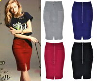 ♡IT♡ Knitted Stretchy Bodycon Pencil Midi Skirt Front Zip Split Pocket Simple