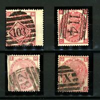 GB QV 1867/80 3d red plates 5, 6, 9 and 10 sg103 cv£320 (4v) FU Stamps