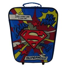 Official Superman Cartoon Wheeled Trolley Hand Luggage Bag - Suitcase DC Comics