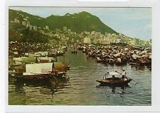BOAT PEOPLE IN CAUSEWAY BAY TYPHOON SHELTER: Hong Kong postcard (C23255)
