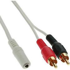 3m Chinch Klinkekabel weiß 2 Cinch Stecker zu 3,5 mm Buchse Audio #107