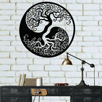 Black.Tree of Life Metal Hanging Wall Art Round Sculpture Home Garden.Decor