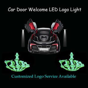 2x Middle Finger Skull Logo Car Door Welcome Laser Shadow LED Light Projector