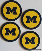 UNIVERSITY of MICHIGAN Wolverines Coasters Set 4 NCAA Football Licensed Sports