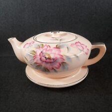 FS-00002 Mid Century Japan Ceramic Teapot with Tile / Trivet PEONY Pattern