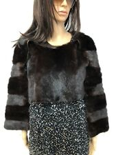 NEW FASHION BROWN MINK FUR STOLE Huge CAPE Vest 2 pieces together Leather
