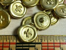 "Fleur de Lis #102G Vintage Buttons Metal Gold 3/4"" - 19.5mm  5 pcs"