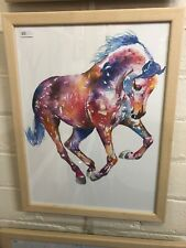 Watercolor Painting Horse Print Wall Art Home Decor Animal Pattern, Framed