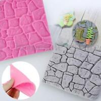 3D Cobble Stone Silicone Wall Fondant Cake Mould Sugarcraft Decor Mold   K TI