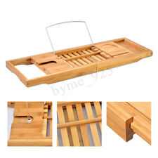 Bathtub Rack Caddy Bamboo Wood Shelf Shower Book Table Tray Expandable Holder