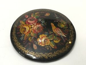 Vintage Russia Hand Painted Signed Black Lacquer Floral & Bird Round Brooch Pin