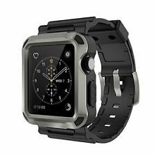 Simpeak Apple Watch 3 Band Grey Rugged Protective Case W Black Strap Bands 42mm