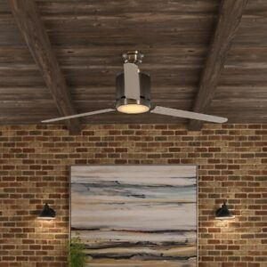 Modern Brushed Nickel Ceiling Fan LED Light Remote Control Silver Large 60 Inch