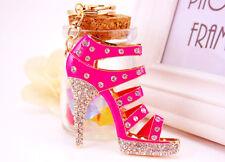 Large Pink High Heeled Shoe Shaped Crystal Diamante Bag Charms Handbag Keyrings